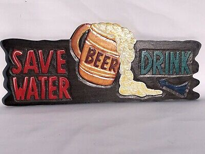 Save Water Drink Beer Hand Carved Wood Sign Wall Art Tropical Patio Tiki