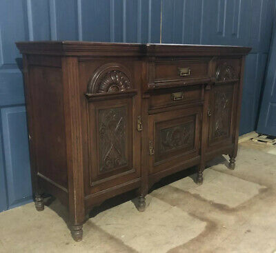 A Beautiful Victorian Oak Carved Sideboard Original Handles