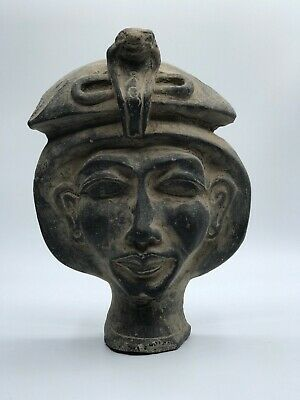 RARE EGYPTIAN Antiques EGYPT STATUE KING AKHENATEN Mask Black Carved Stone BC