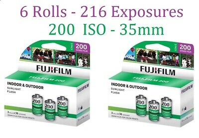 6 Rolls Fuji Fujicolor 200 135-36 35mm Film 2- 3packs Color CA Fujifilm 06/2019