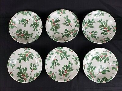 6 Royal Stafford England Holly Berry Christmas Soup Salad Cereal Bowls Excellent