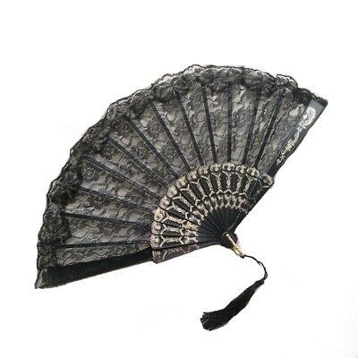 SEQUENCE GLITTER HAND HELD FABRIC FOLDING FAN FANCY-DRESS PROM PARTY VA139SG
