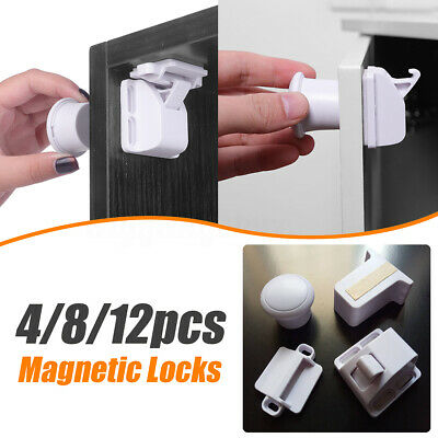 4/8/12Pcs Baby Safety Magnetic Cupboard Cabinet Drawer Locks Child Proofing .
