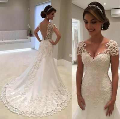 6-16 2020 New White//Ivory Mermaid Lace Wedding Dress Bridal Gown Size