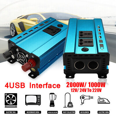 1000W/2000W Car Solar Power Inverter Modified Sine Wave Converter 4 USB 12V/24V