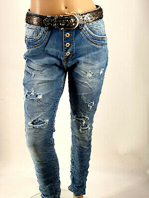 💋 2020 Coole JEWELLY Jeans Baggy Boyfriend Destroyed Risse Used Style Gr.34-42