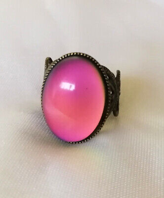 OVAL BRASS MOOD RING - cosmetic flaw - Adult Adjustable - Bronzed Shade