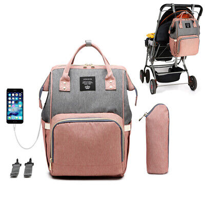 LEQUEEN Baby Nappy Diaper Bag Mummy Maternity Stroller Travel USB Large Backpack