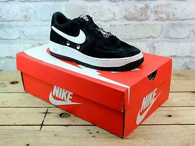 Kids Youth Nike Air Force 1 Black Suede Canvas Sport Sneakers Trainers Uk Size 4