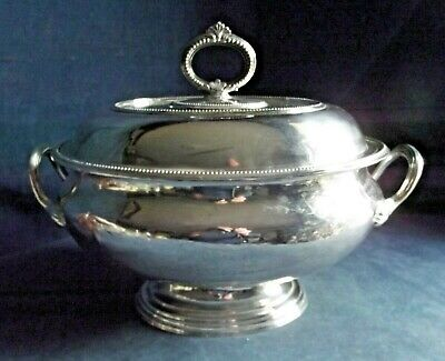 """SMART Large 14"""" ~ SILVER Plated ~ LIDDED Serving TUREEN ~ c1890"""