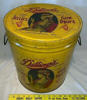 Antique Dillings Gum Drop Tin Litho Candy Can Country Store Display Indianapolis
