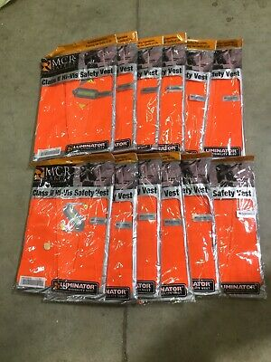 12 MCR CL2OC Fluorescent Orange Luminator Vests - XL