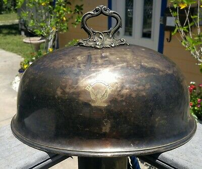 Antique Masonic Georgian Old Sheffield Plate Meat Dome Winged Hourglass IN TIME