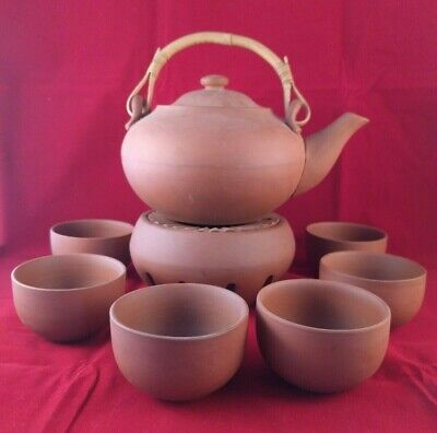 Vintage Chinese Terracotta Tea Set 8 Pieces With Warmer Never Used