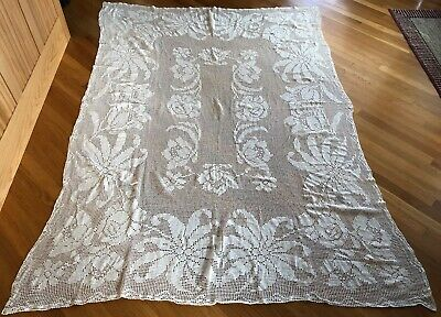 "Vtg hand crocheted cotton tablecloth floral design 58"" x 84"" off white roses"