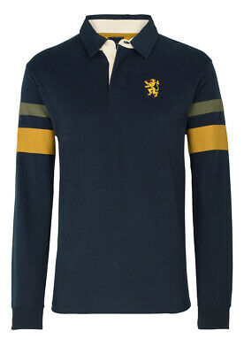 Brook Taverner Men's Blue With Mustard And Forest Hoop Rugby Shirt Casualwear