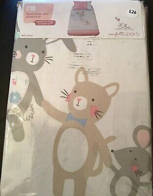 Mothercare Confetti Party Duvet Cover & Pillowcase For Cot Bed / Toddler Bed
