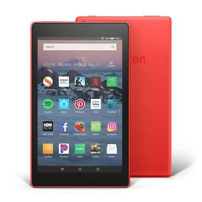 Amazon Fire HD 10 Tablet, 32GB, 7th Generation w/Alexa Hands-Free - Punch Red