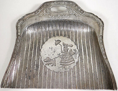 Crumb Catcher Vtg Dust Pan Victorian Girl Walking Scottie Dog Scottish Terrier