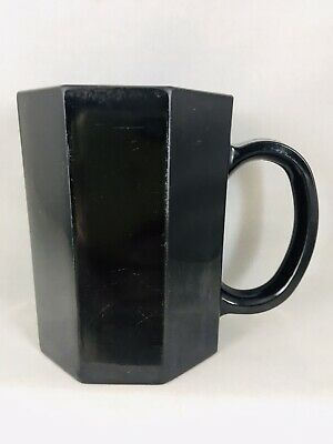 Vintage Arcoroc Octime Black Glass Coffee Mug Octagonal Shape Cup France