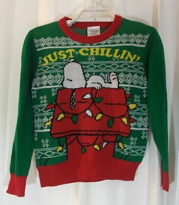 Peanuts Snoopy nwt sweater kids 8 green Christmas doghouse
