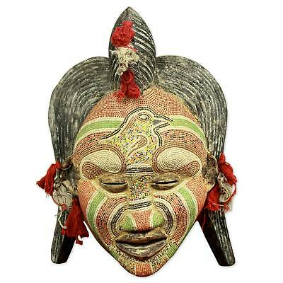 'Ancient River Goddess' Mask Congo Antiqued Beaded African Wall Art NOVICA