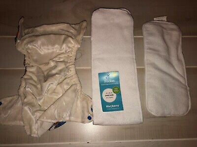 New Boys Blueberry Cloth Diapers With Insert Bamboo Lining 10-35 Lbs One Size