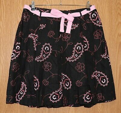 Womens Black Paisley Embroidered Grace Elements Beaded Skirt Size 14P very good