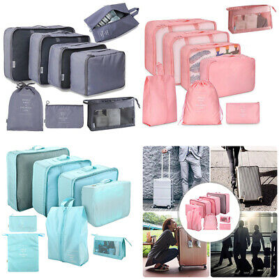 8pcs Travel Storage Bags Set Luggage Suitcase Organiser Clothes Packing Pouch RO