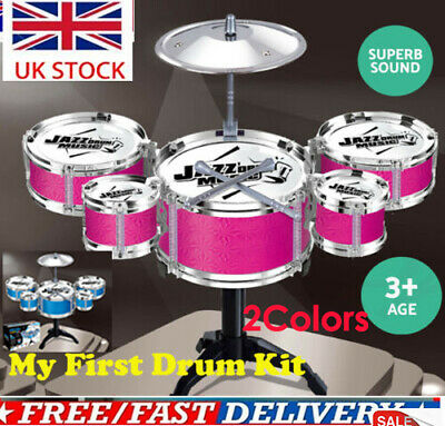 Kids Girl My First Drum Play Set Drums Cymbal Musical Toy Instrument Pedal Stool