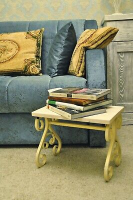 Hand Forged Customized Foot Stool, Wooden Metal Iron Furniture, FootRest