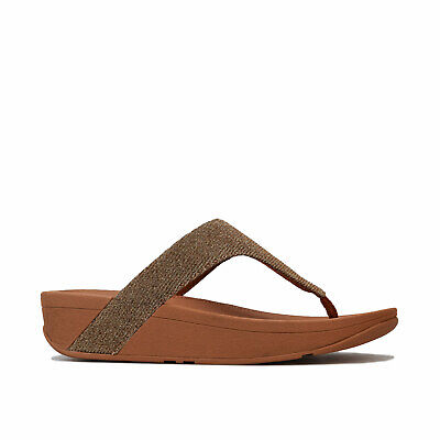 Womens Fitflop Lottie Glitzy Toe Thong Sandals In Artisan Gold