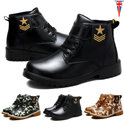 Kids Ankle Boots Boys Girls Winter Army Combat Boots Flat Pull On Riding Hiking