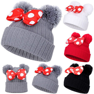 Kids Boys Girls Knitted Hat Warm Bobble Minnie Mouse Bowknot Earflap Beanie Cap