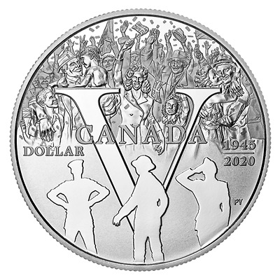 1 $ Proof Silver Dollar 75th Anniversary of V-E Day Kanada Silber PP 2020