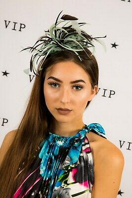 Mint green & brown polkadot spotted feathered comb fascinator wedding races