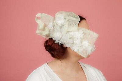 Vintage white organza laced pearl beaded side comb fascinator Bridal hair piece
