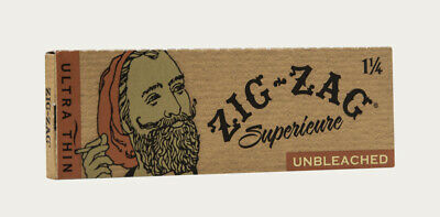5X PACKS Zig Zag Unbleached 1 1/4 Ultra Thin Rolling Paper (50 leaves)