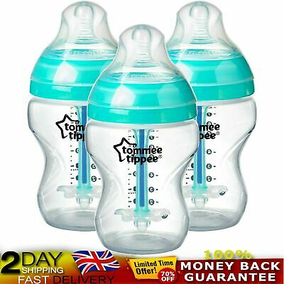 Tommee Tippee Advanced Bottles Anti-Colic Baby BPA Free 3 Count 260ml Clear/Blue