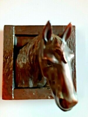 Antique Vintage All Metal Framed Horse Head Copper Coated Wall Plaque