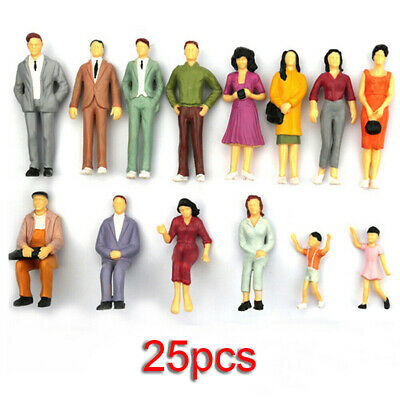 25x/100pcs 1:75 Painted Model Train People Figures Fits Railway Scenery Layout