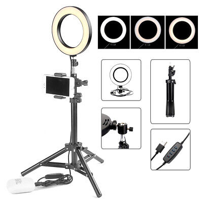 LED Ring Light Studio Photo Video Dimmable Lamp Tripod Stand Selfie Phone Camera