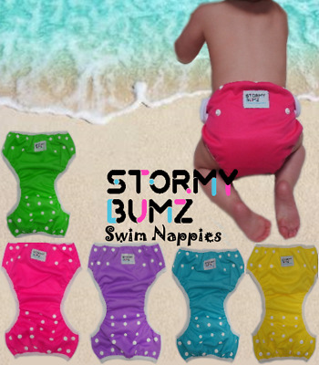 Swim Nappy Reusable Diaper Baby Toddler Boy Girl Swimmer adjust nappies Purple