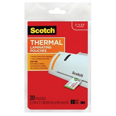 Scotch Thermal Laminating Pouches for Business Cards  - Business Card Size: