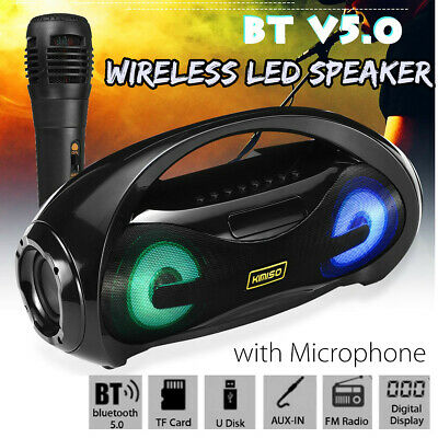 bluetooth Speaker Portable Wireless Amplifier Boombox Stereo AM/ FM Radio TF