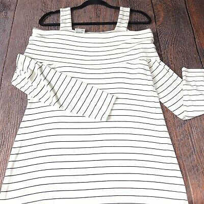 Motherhood Top Size Xl Maternity Striped Off Shoulder Straps Long Sleeves Nwt