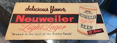 Vintage Neuweiler Beer Trolley - Bus Advertising Sign W/ 12 Oz Can Allentown Pa