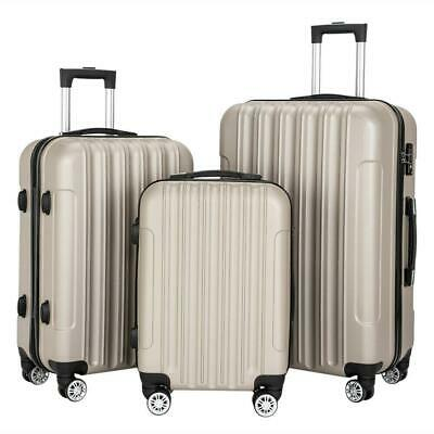 Hardside 3 Piece Nested Spinner Suitcase Luggage Set With TSA Lock Gray