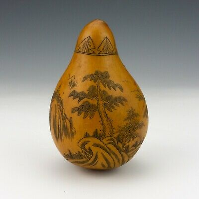 Antique Chinese Asian - Incised Oriental Scene Decorated Gourd - Unusual!