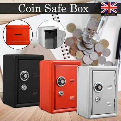 Metal Safe Money Box Bank 2 Keys With Combination Lock Coins Cash Security Gifts